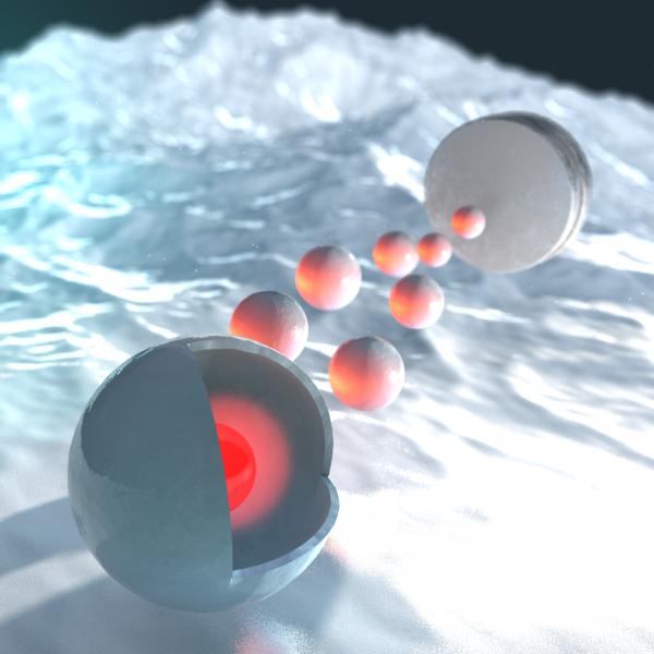 באיור: החלקיק הדו-מודאלי מורכב מכדור חלול של תחמוצת ברזל (באפור) שבתוכו צף חלקיק פולט אור (באדום)