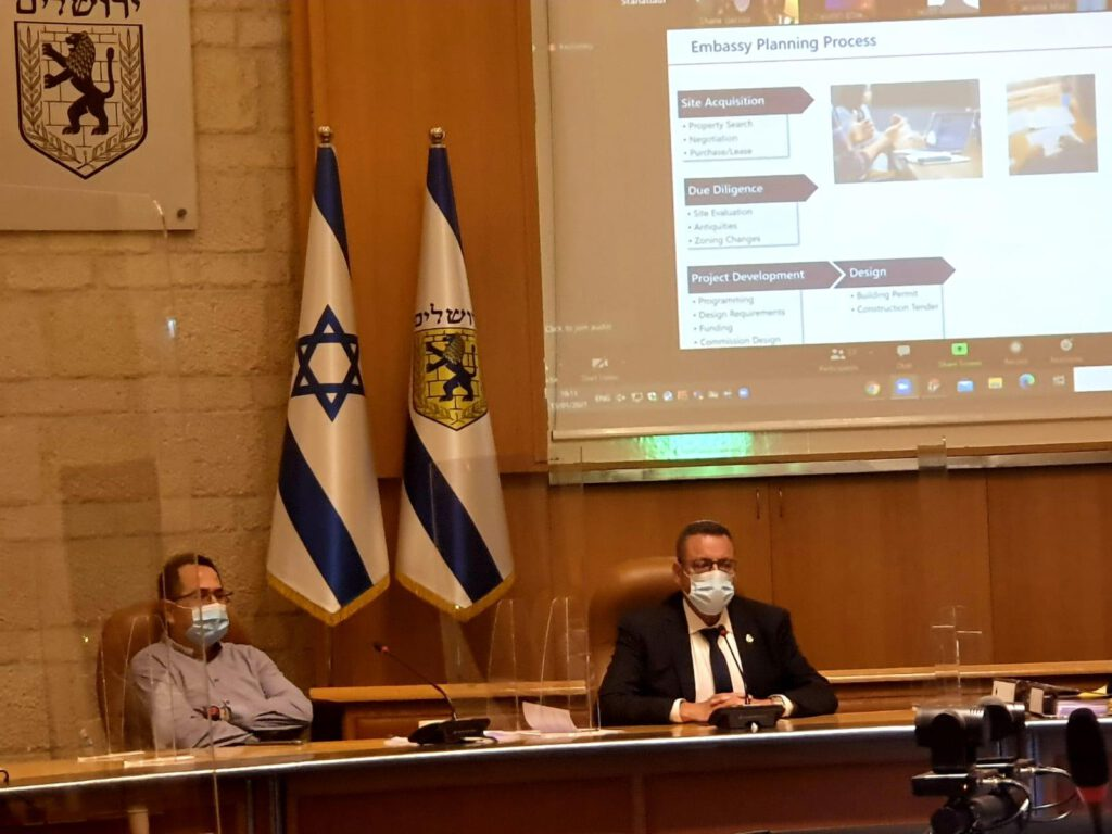 דיון על מיקומה של השגרירות האמריקאית בבירה