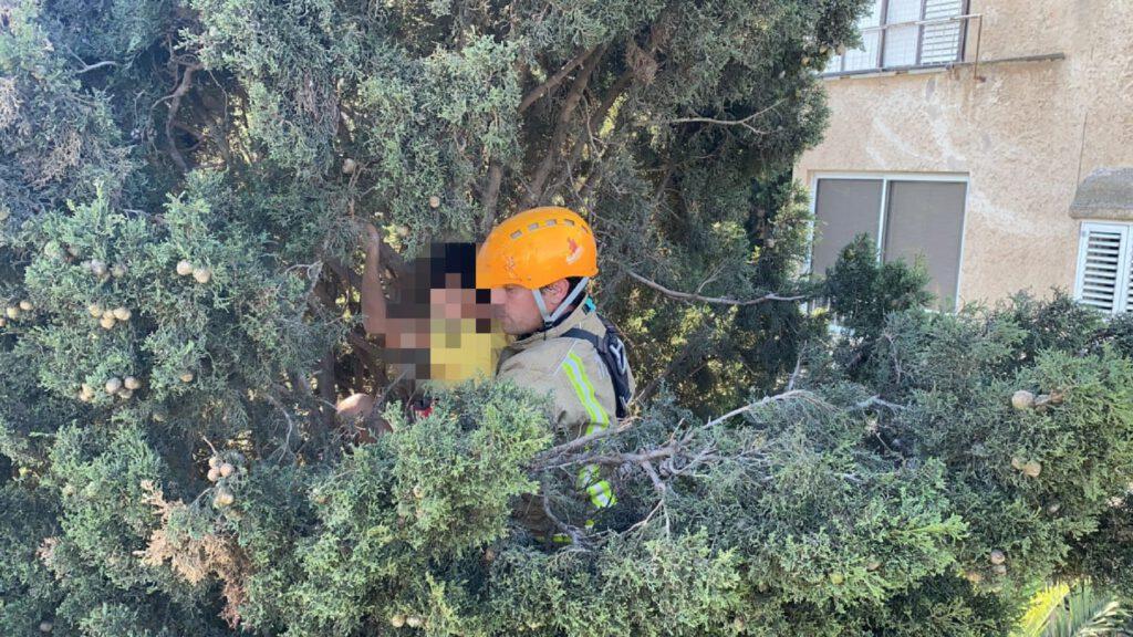 חילוץ ילד שטיפס על העץ